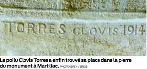 Inscription torres monument aux morts